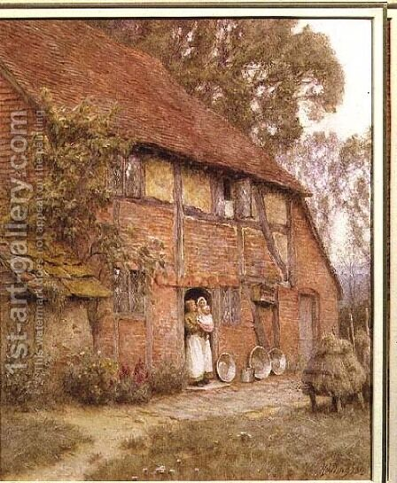The Cottage with Beehives by Helen Mary Elizabeth Allingham, R.W.S. - Reproduction Oil Painting