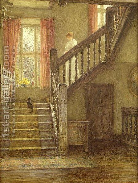 The Staircase, Whittington Court by Helen Mary Elizabeth Allingham, R.W.S. - Reproduction Oil Painting