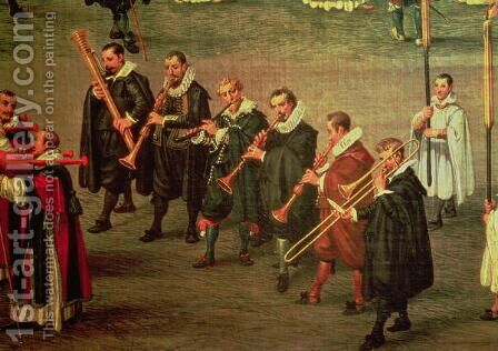 Musicians taking part in The Ommeganck in Brussels on 31st May 1615- Procession of Notre Dame de Sablon by Denys Van Alsloot - Reproduction Oil Painting