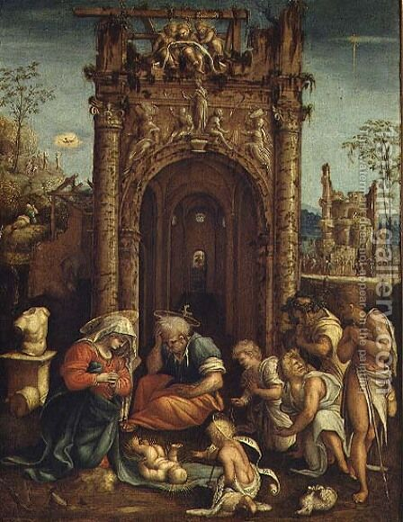 Adoration of the Shepherds, c.1530 by Amico Aspertini - Reproduction Oil Painting