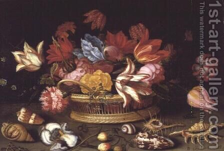 A Basket of Flowers with Shells on a Ledge by Balthasar Van Der Ast - Reproduction Oil Painting
