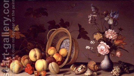 Apples, cherries, grapes, plums and a vase of flowers by Balthasar Van Der Ast - Reproduction Oil Painting