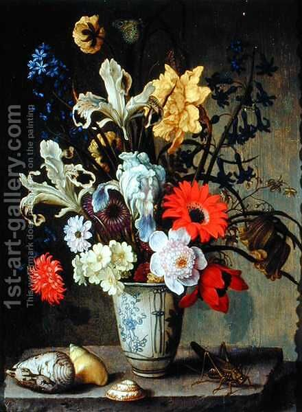 Floral Study with beaker, grasshopper and seashells by Balthasar Van Der Ast - Reproduction Oil Painting