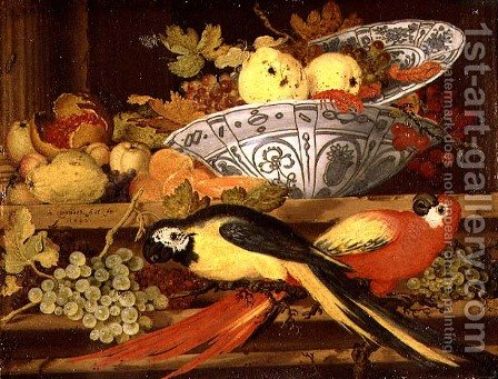 Still Life with Fruit and Macaws, 1622 by Balthasar Van Der Ast - Reproduction Oil Painting