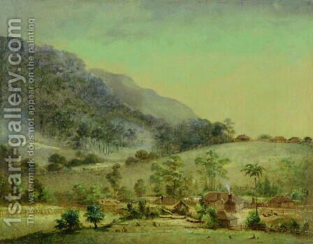 Homesteads (2) c.1850 by Anonymous Artist - Reproduction Oil Painting
