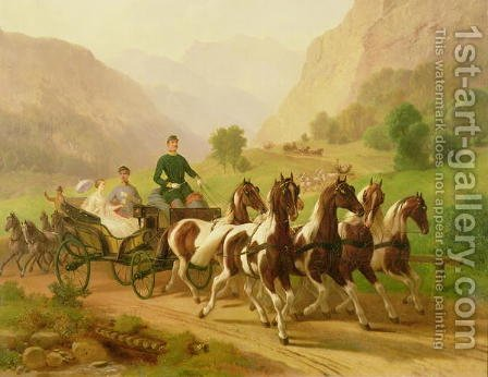 Emperor Franz Joseph I of Austria, being driven in his carriage with his wife Elizabeth of Bavaria in Bad Ischl, 1855 by Anonymous Artist - Reproduction Oil Painting