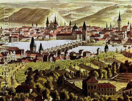 View of Prague by Anonymous Artist - Reproduction Oil Painting