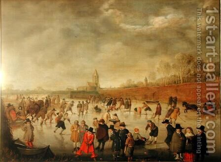 Skating Scene at Kampen by Barent Avercamp - Reproduction Oil Painting
