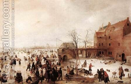 A Scene on the Ice near a Town, c.1615 by Hendrick Avercamp - Reproduction Oil Painting