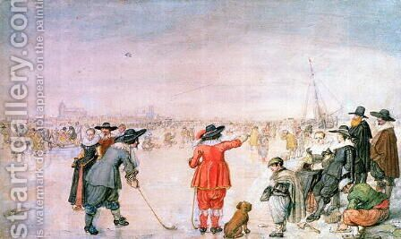 Golf on the Ice on the River Ijsel near Kampen by Hendrick Avercamp - Reproduction Oil Painting
