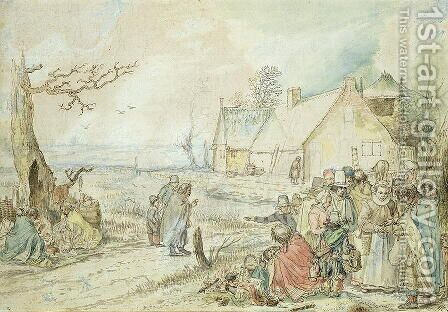 Landscape with Gypsy Fortune-Tellers by Hendrick Avercamp - Reproduction Oil Painting