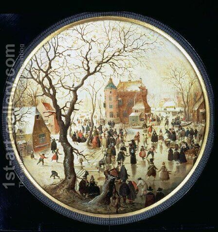 Winter Scene with Skaters near a Castle  c.1608-09 by Hendrick Avercamp - Reproduction Oil Painting