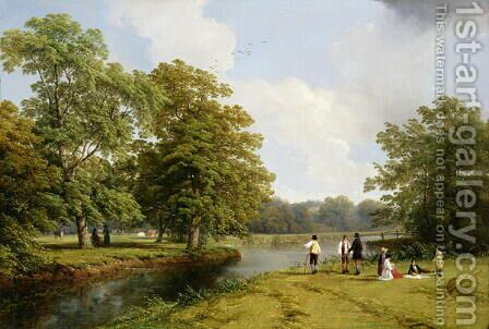 A Picnic in Stoneleigh Park by Hendrikus van den Sande Bakhuyzen - Reproduction Oil Painting