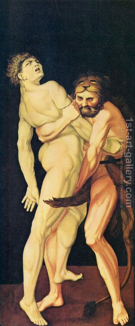 Hercules and Antaeus 1530 by Hans Baldung  Grien - Reproduction Oil Painting