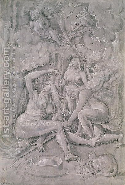 The Witches' Sabbath  c.1515 by Hans Baldung  Grien - Reproduction Oil Painting