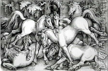 Wild Horses Fighting 1534 by Hans Baldung  Grien - Reproduction Oil Painting