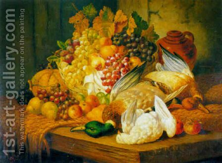 Still life with fruit and fowl by Charles Thomas Bale - Reproduction Oil Painting