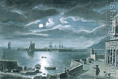 The Harbour and the Cobb, Lyme Regis, Dorset, by Moonlight by Copplestone Warre Bamfylde - Reproduction Oil Painting