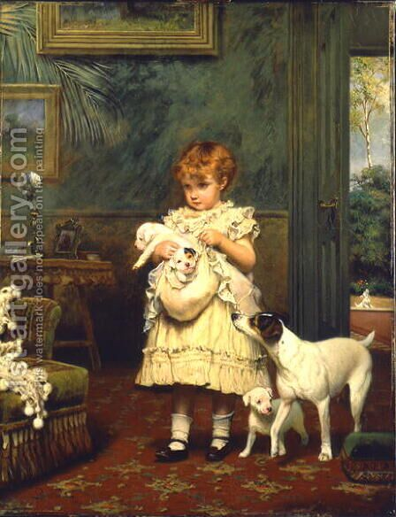 Girl with Dogs 1893 by Charles Burton Barber - Reproduction Oil Painting
