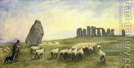 Returning Home, Stonehenge, Wiltshire, 1891 by Edgar Barclay - Reproduction Oil Painting