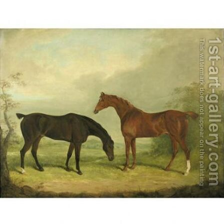Two horses in a landscape by James Barenger - Reproduction Oil Painting