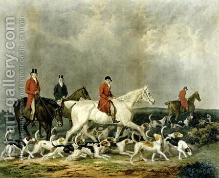 The Earl of Derby's Stag Hounds 1823 by James Barenger - Reproduction Oil Painting