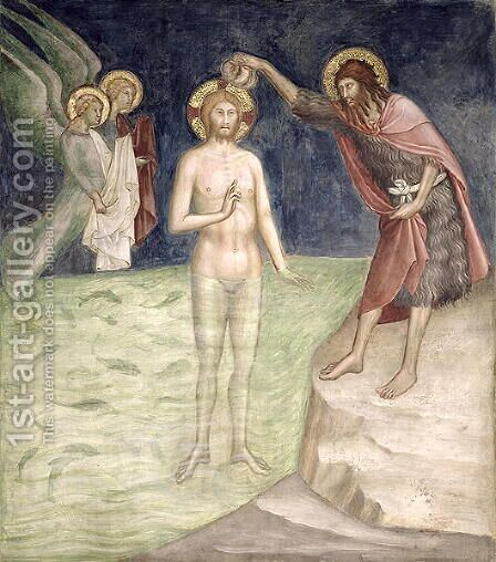 Baptism of Christ, from a series of Scenes of the New Testament by Barna Da Siena - Reproduction Oil Painting