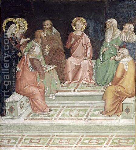 Jesus with the Doctors, from a series of Scenes of the New Testament by Barna Da Siena - Reproduction Oil Painting