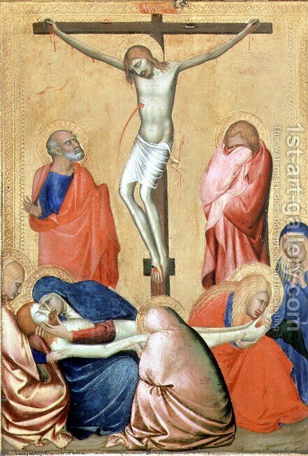 The Crucifixion and the Lamentation by Barna Da Siena - Reproduction Oil Painting