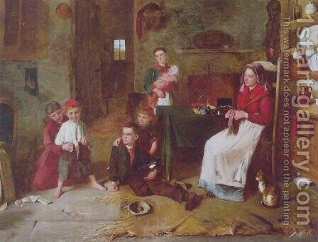 A mother's touch by Edward Charles Barnes - Reproduction Oil Painting