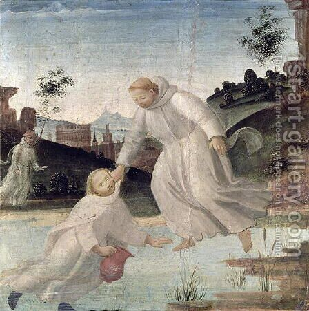 Scenes from the Life of St. Benedict- Maurus, on the instruction of St. Benedict, pulls Placidus from the lake, c.1488 by Bartolomeo Di Giovanni - Reproduction Oil Painting