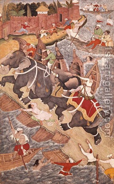 Akbar Tames the Savage Elephant, Hawa'i, Outside the Red Fort at Agra, miniature from the Akbarnama of Abul Fazl, c.1590 by Basawan and Chatai - Reproduction Oil Painting