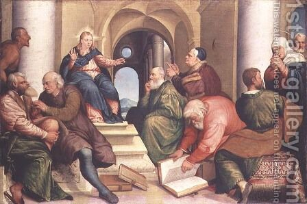 Christ among the Doctors by Jacopo Bassano (Jacopo da Ponte) - Reproduction Oil Painting