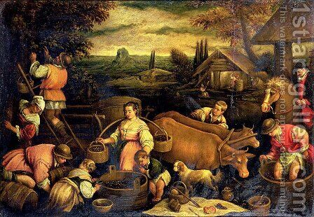 The Four Seasons- Autumn by Jacopo Bassano (Jacopo da Ponte) - Reproduction Oil Painting