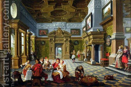 Interior of a Palatial Room 1622 by Bartholomeus Van Bassen - Reproduction Oil Painting