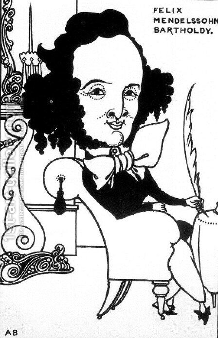 Caricature of Felix Mendelssohn by Aubrey Vincent Beardsley - Reproduction Oil Painting