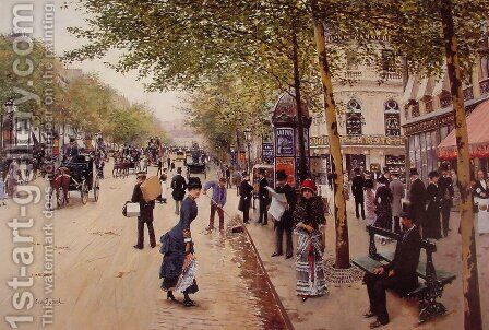 Parisian street scene by Jean-Georges Beraud - Reproduction Oil Painting