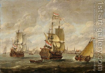 Hollandische Kriegsschiffe vor Amsterdam by Jan Karel Donatus van Beecq - Reproduction Oil Painting