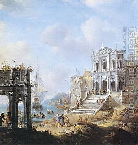 A Capriccio of an Italianate Harbour capriccio with the Arch of Constantine and a Church with Figures and shipping beyond 1663 by Jan Abrahamsz. Beerstraten - Reproduction Oil Painting