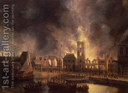 The Great Fire in the Old Town Hall, Amsterdam 1652 by Jan Abrahamsz. Beerstraten - Reproduction Oil Painting