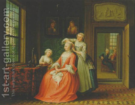A lady at her toilet in an interior 1762 by Abraham Hendrick van Beesten - Reproduction Oil Painting