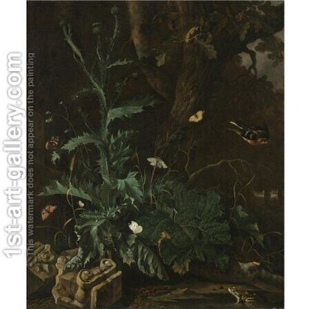 A forest floor with a thistle, the ruin of an Ionic Column, butterflies, a toad, and a songbird by Abraham Jansz Begeyn - Reproduction Oil Painting