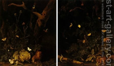 Forest landscapes with squirrels birds and insects by Abraham Jansz Begeyn - Reproduction Oil Painting