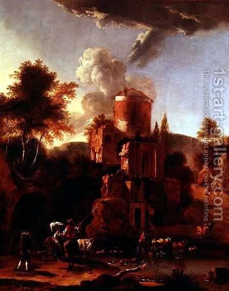 Italian Landscape with ruins by Abraham Jansz Begeyn - Reproduction Oil Painting