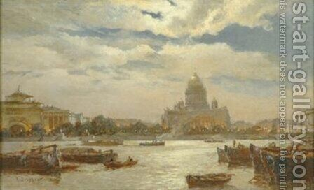 View of Saint Petersburg in twilight 1911 by Aleksandr Karlovich Beggrov - Reproduction Oil Painting
