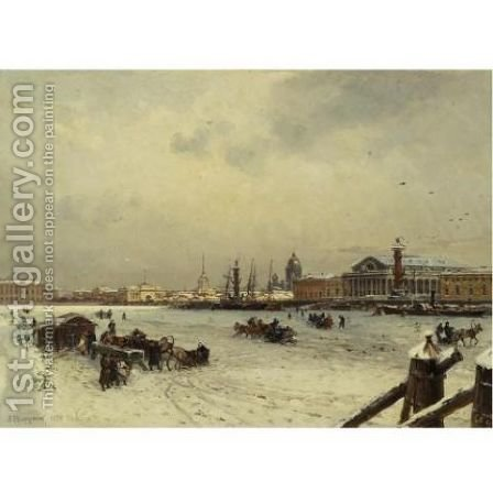 View of St. Petersburg in winter, with the cuppola of St. Isaac's Cathedral in the distance 1878 by Aleksandr Karlovich Beggrov - Reproduction Oil Painting