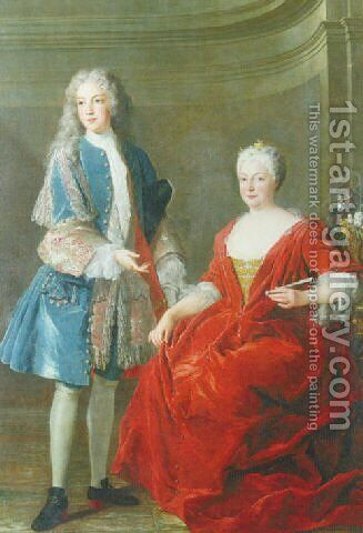 Portrait of a noble lady and young man, Probably the Duchess of Lorraine and her son 1722 by Alexis-Simon Belle - Reproduction Oil Painting