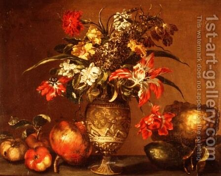 Tulips, a carnation and other flowers in a silver gilt vase with fruit on a ledge by Andrea Belvedere - Reproduction Oil Painting