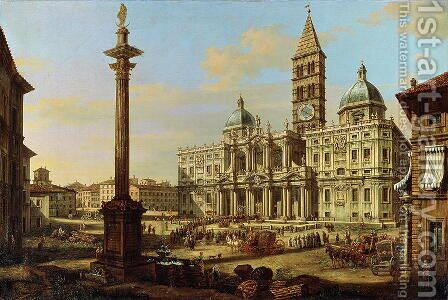 Santa Maria Maggiore, Rome 1739 by Bernardo Bellotto (Canaletto) - Reproduction Oil Painting