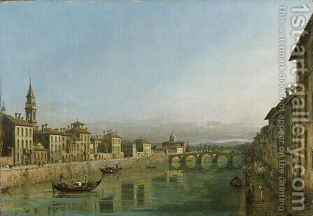 The Arno in Florence with the Ponte alla Carraia, c.1745 by Bernardo Bellotto (Canaletto) - Reproduction Oil Painting